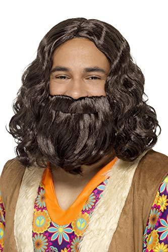 Smiffys-43069 Juego de Peluca y Barba Hippie/Jesucristo, castaño, Color marrón, No es Applicable (Smiffy