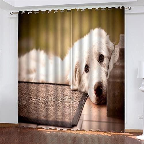 NQING 3D-Digitaldruck-Hundeserie Mit Perforiertem Polyestervorhang, Beschattung Und Geräuschreduzierung, Geeignet Für Wohnzimmer, Schlafzimmer Und Küche 2xB140xH180cm