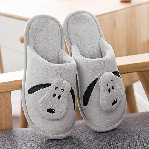 Zapatillas de algodón de pareja Zapatillas de algodón de pareja de invierno Fondo grueso Mujeres embarazadas suaves Fondo suave Cute dibujos animados Inicio Hombre gris claro 38/39