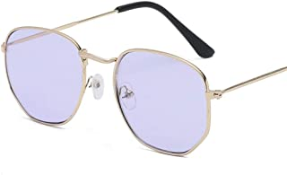 FJCY - Gafas de Sol de aviación con Lentes Planas hexagonales para Hombre, Nuevas Gafas de Sol de conducción con Espejo Rosa y Retro para mujer-Xyy706-C3