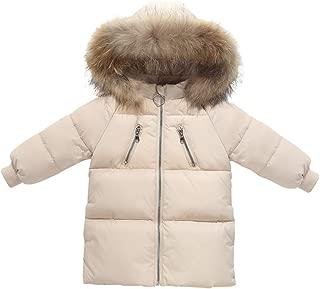 Happy Cherry Baby Girls Winter Long Down Coat Puffer Jacket Faux Fur Hooded Parka Windproof Lightweight Outerwear