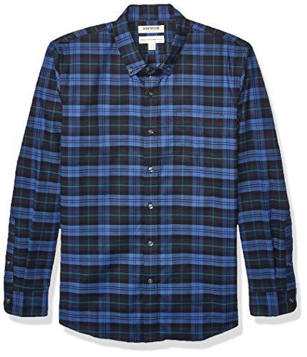 Goodthreads Standard-Fit Long-Sleeve Stretch Oxford Shirt (All Hours) button-down-shirts, Denim Navy Tartan, US (EU XL-XXL)