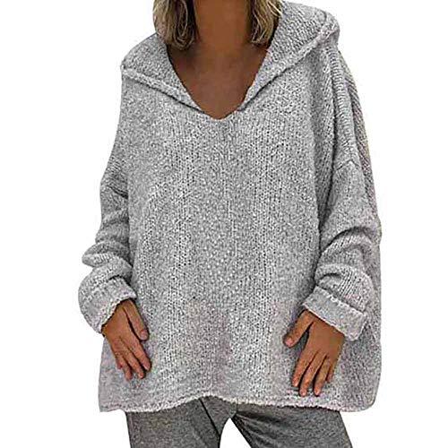 YEBIRAL Jerséis para Mujer Otoño e Invierno Suelto Color Sólido Basicas Suéter Sudadera con Capucha Jersey de Lana Blusas Camisetas Jerseys de Punto