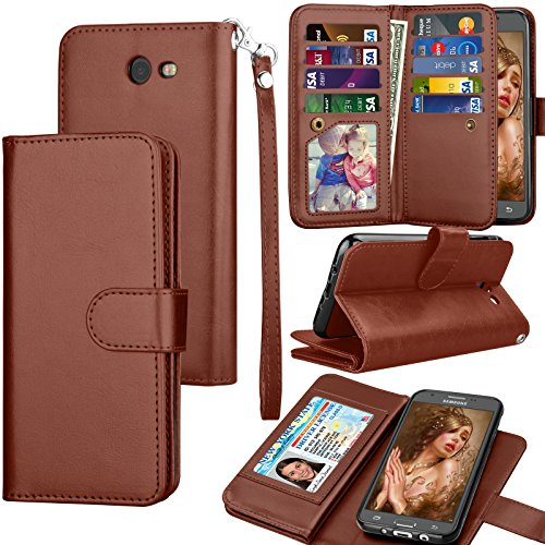 Tekcoo Compatible for Galaxy J7 Sky Pro / J7 V / J7 Perx/Samsung Halo / J7 2017 PU Leather Wallet Case, Credit Card Slots Carrying Flip Cover [Detachable Magnetic Case] Kickstand Brown