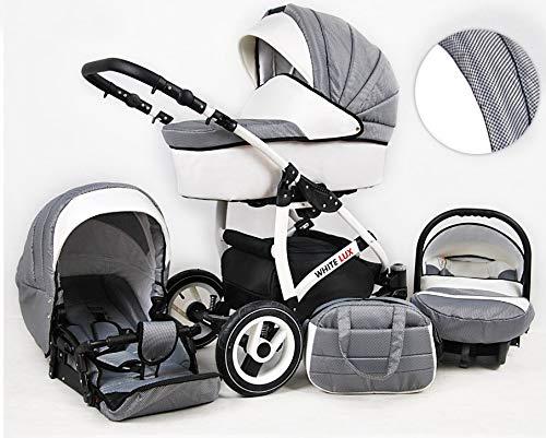 Kinderwagen 3 in1 2in1 Isofix Komplettset mit Autositz alles in einem Biancino by ChillyKids Carbon 3in1 mit Babyschale