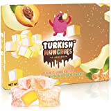 Turkish Delight with 3 Unique Flavors   Gourmet Assortment   Tangerine, Melon, Peach Flavored Soft Candy Desert   No Nuts Vegan Luxury Gift Box   Sweet Traditional Confectionery Snacks   35 Pcs 8.5 oz