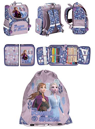Disney Eiskönigin Frozen Anna ELSA Schulranzen Mädchen Tornister Schulrucksack Schultasche Set 3 TLG. für Grundschule super leicht/inkl. Federmäppchen/gefüllt/, Sportbeutel