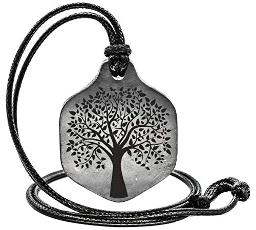 Shungite Pendant Engraving Sacred Geometry EMF Neutralizer Hexagon The Tree of Life