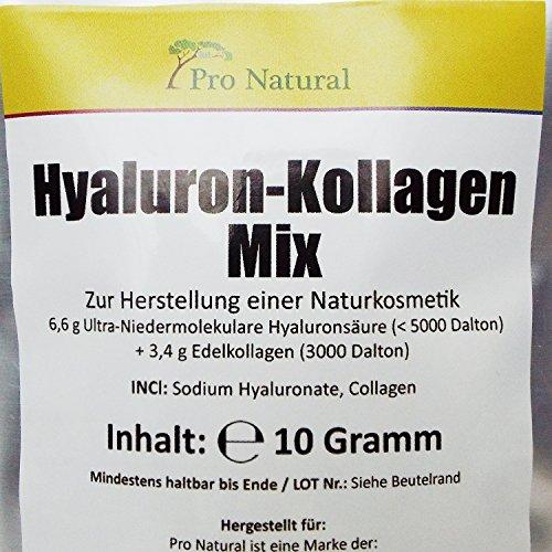 Hyaluron-säure-Kollagen-Mixtur-pulver (10g) zum selbst herstellen hoch-dosierter-konzentrierter Hyaluron-säure-Creme-Gel-Serum-Konzentrat wirkt als Feuchtigkeit-spendendes-Anti-Aging-Falten-Face-Lifting-Gesicht-Pflege-Creme-Serum