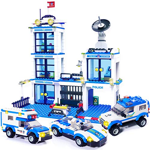 Exercise N Play City Police Station Building Kit, Police Car Toy, City Police Sets, with Escort Car, Prison Van, Cruiser, Best Learning & Roleplay STEM Toys Gift for Boys and Girls 6-12 (818 Pieces)