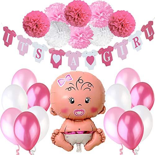 Meisjesbaby Shower Partij Decorations, It's a Girl Banner + 1 XXL Pasgeboren babymeisje Foil Mylar Balloon + 8 Flower Pom Poms + 12 Latex Ballonnen Roze Wit. Feestartikelen voor het moederschap