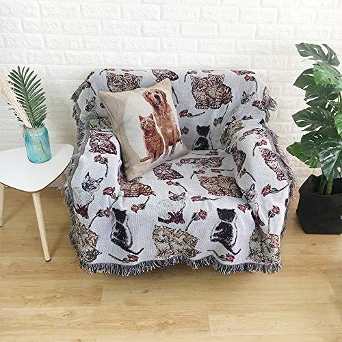 NA MYBH Manta de decoración del hogar Manta de línea de país Americana Manta de sofá Manta de algodón Azul 160 * 130 cm