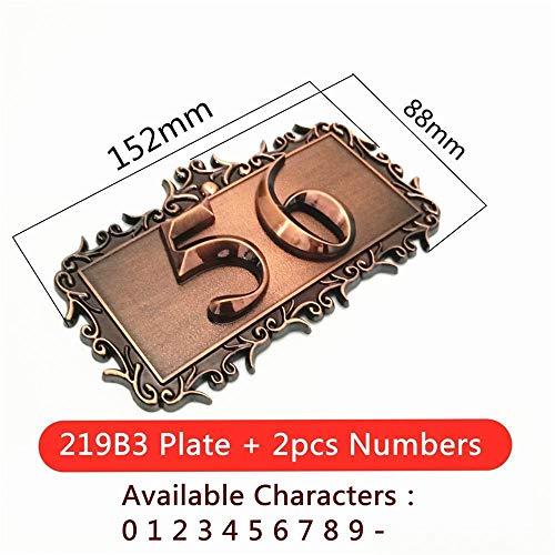 GHC Número de casa ABS Plastik Imitation Metall Bronze House Benutzerdefinierte Zeichen Tür-Zahl-Aufkleber for Hotel Apartment Türschild (Farbe : Option 2)