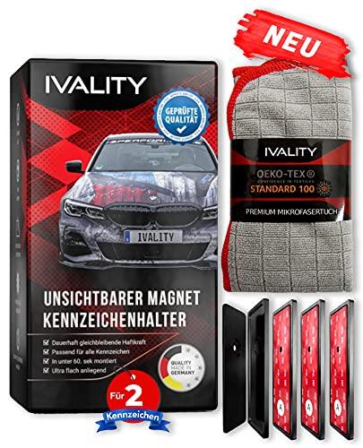 IVALITY® Hochwertiger Magnet Kennzeichenhalter Rahmenlos für 2 Alu Kennzeichen | Nummernschildhalterung Auto | Wechselkennzeichenhalter Österreich /DE/CH | Auto-Zubehör | Für eine cleane Optik