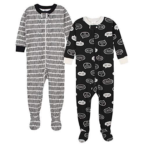 Gerber Organic 2 Pack Cotton Footed Pajamas Coche Cama, Sleepy, 3 Meses para Bebés