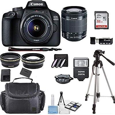 Canon EOS 4000D Digital SLR Camera w/ 18-55MM DC III Lens Kit (Black) with Accessory Bundle, Package Includes: SanDisk 32GB Card + DSLR Bag + 50'' Tripod+ Inspire Digital Cloth (International Model) from Inspire Digital