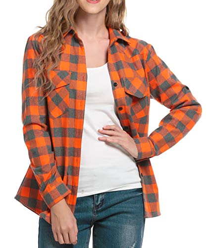 Jhsnjnr - Camisa informal de manga larga para mujer con botones a cuadros
