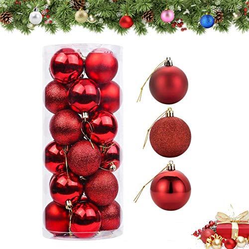 JIASHA Weihnachtskugeln,24 Stück rot Weihnachtsdeko,matt,glänzend,Glitzer christbaumkugeln,für Weihnachtsbaumschmuck