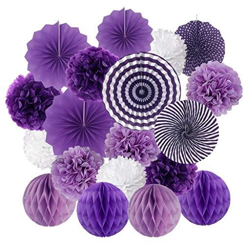 Kviklo Honeycomb Balls Windrad Set 19tlg. Hängekits Papierfächer Fächer Flower Bunt für Geburtstag Hochzeit Partydekorationen(Violett,19 Pieces)