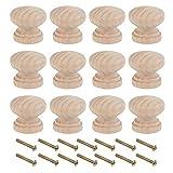 OLYCRAFT 30 Juegos de pomos de Madera para cajones, pomos de Madera Natural de 21 mm de Alto, Acabados de Madera de pantano para Muebles