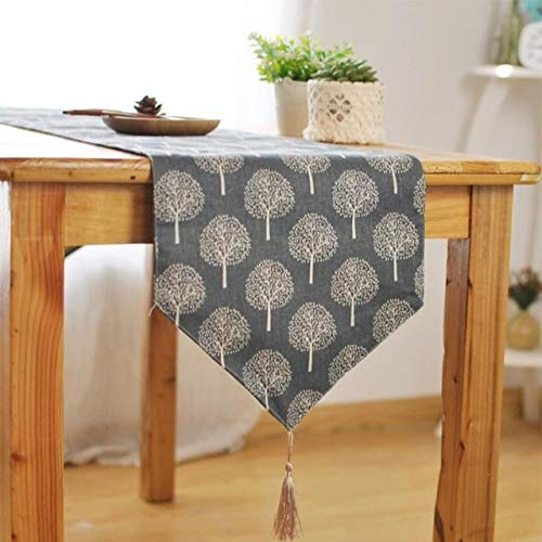 33cm*160 Table Runner Modern Tree Pattern Chirstmas Party Wedding Decor Crafts Linen Cotton Table Runner Natural Burlap Tablecover (Color : Gray)