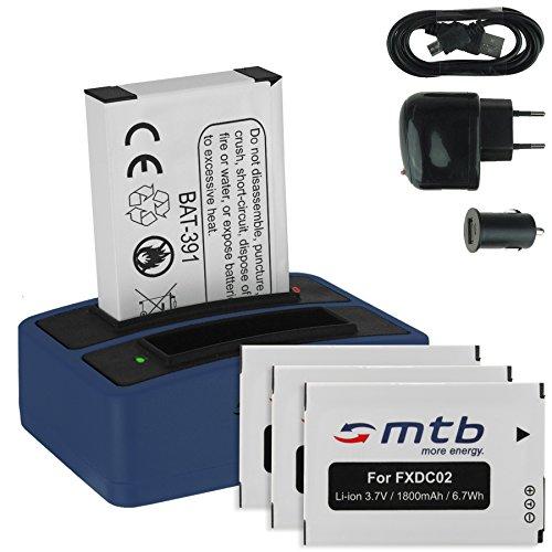 4x Batteria + Caricabatteria doppio (USB/Auto/Corrente) FXDC02, CFXDC02 per Drift HD Ghost (10-005-00), Ghost-S (10-007-00)