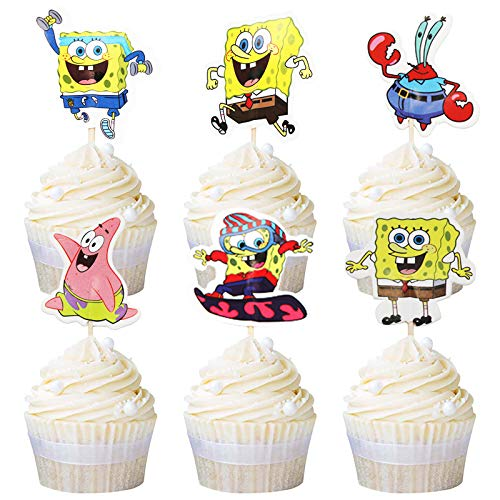 Ekate Sponge Boy SquarePants Cupcake Toppers Set Themed Birthday Baby Shower Supplies 24pcs