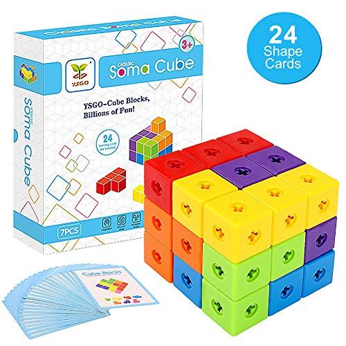 NOBRAND Powcan Classic Soma Cube Tetris Puzzle Magic Cube con 7 piezas de bloques de construcción y 24 tarjetas de forma Regalos educativos para el desarrollo educativo de los niños Regalo