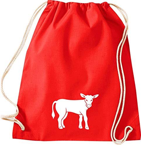 Shirtstown Turnbeutel Gymsack, Tiere Kuh, Bulle, Sprüche Spruch Logo Motiv, Tasche Sport Beutel, Farbe Rot