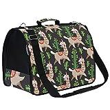 Kcldeci - Bolsa de viaje para mascotas con diseño de cactus de alpaca, color negro, reversible, para cachorros, gatitos, para coche, viajes al aire libre, senderismo