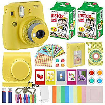 Fujifilm Instax Mini 9 - Instant Camera with Carrying Case + Fuji Instax Film Value Pack (40 Sheets) Accessories Bundle, Color Filters, Photo Album, Assorted Frames, Selfie Lens + More…… by FUJIFILM