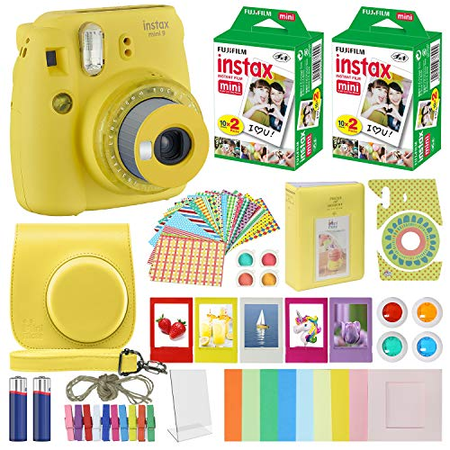Fujifilm Instax Mini 9 - Instant Camera Clear Yellow with Clear Accents with Carrying Case + Fuji Instax Film Value Pack (40 Sheets) Accessories Bundle, Color Filters, Photo Album, Assorted Frames