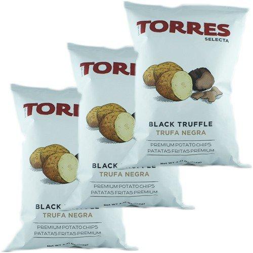3x Torres Selecta Trufa Negra Premium Kartoffelchips \'mit Schwarzem Trüffel\', 125g