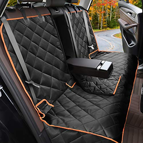 Yicostar Dog Car Seat Cover Waterproof Non-Slip Bench Dog Car Seat Cover for Back Seat Heavy Duty Pet Seat Cover Protector Armrest Compatible for Cars Trucks and SUVs