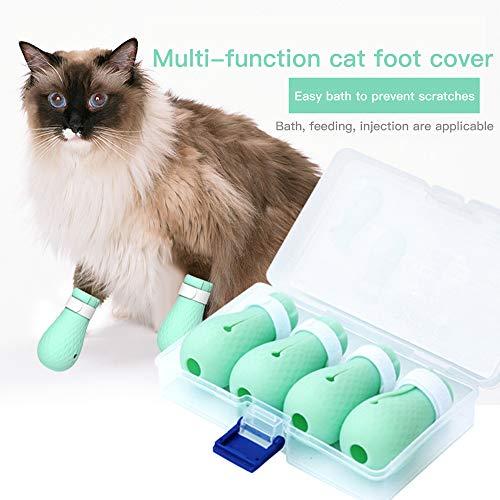 Queta Katzen Pfotenschutz,Katze Anti-Scratch Stiefel,Silikon Anti-Kratz Katzen Schuhe Geeignet für Welpen und Kätzchen für das Baden zu Hause,Rasieren,Prüfen,Behandlung in der Haustierklinik,4 Stücke