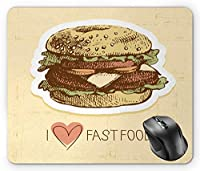 Hamburger Mouse Pad, Grunge Retro Illustrated Delicious Food and I Love Fast Food Typography Print Multicolor Mouse Pad