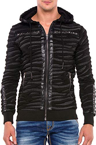 Cipo & Baxx Herren Hoodie Sweatshirt Pullover Strickjacke Kapuzenjacke Übergangsjacke Reißverschlussjacke Schwarz XXL