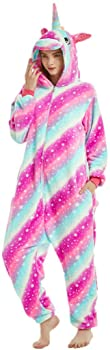 iSZEYU Unicorn Onesies for Women Adult Onsie Pajamas Sleeper Halloween Costumes