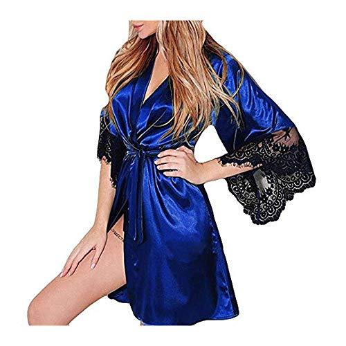 Dasongff dames ochtendjas Kimono satijn korte robe badjas nachtkleding sleepwear V-hals met riem kanten patchwork badjas Robe Large blauw