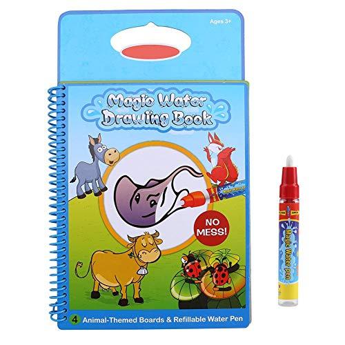 Kinder Aquarell & Malbuch, Baby Kinder Wasser Malbuch Malbrett mit Stift Lernspielzeug wiederverwendbar, Jungen Mädchen(Tiermuster)