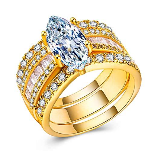 Goddesslili Large Diamond Rings for Women Girlfriend Girls Inlaid Drop Gemstone Rhinestones 3 Piece Wedding Engagement Anniversary Luxury Jewelry Gift Under 5 Dollars Size 5-11 (Gold, 6)