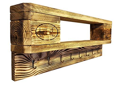 daves redesign Schlüsselbrett Holz Vintage aus Europalette mit 8 Schlüsselhaken incl. Aufhängung Schlüsselboard Wandregal Ablage Vintage Wandboard Palettenmöbel Palettenregal