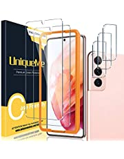 [2+3 Pack] UniqueMe Compatible for Samsung Galaxy S21 5G 6.2 inch Tempered Glass Screen Protector and Camera Lens Protector, Easy Installation Frame Support Fingerprint Unlock HD 9H