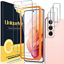 [ 2+3 Pack ] UniqueMe Compatible with Samsung Galaxy S21 5G - 6.2 inch Tempered Glass 2pc + Camera Lens Protector 3pc with Easy Installation Frame[9H Hardness][Not for Samsung S21 Plus / S21 Ultra].