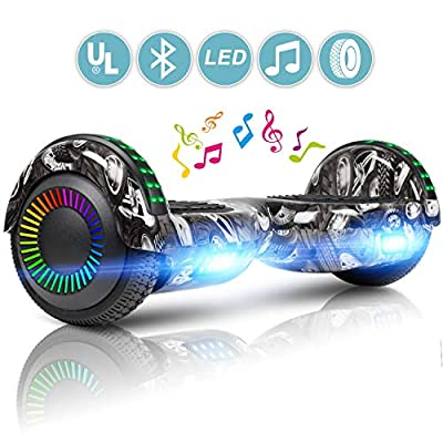 "LIEAGLE Hoverboard Two-Wheel Self Balancing Electric Scooter UL 2272 Certified 6.5"" with Bluetooth Speaker and LED Light Flash Lights Wheels (White)"