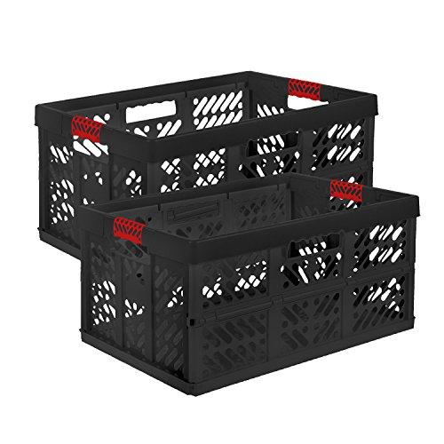 Keeeper - 2x Profi Faltbox BEN, 45 Liter, PP, graphit-rot