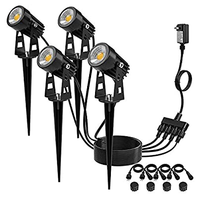 Kohree Low Voltage Landscape Lights, 12V Plug in LED Outdoor Landscape Spotlight Lighting Waterproof Warm White for Driveway, Yard, Lawn, Flood, Swimming Pool,Garden Lights, UL Adapter (4 Pack)
