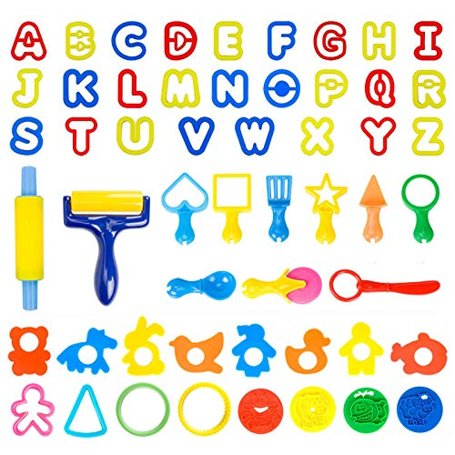 Pandapia 52Piece Play Dough Tools Toys Playdough Cookie Cutter Starter Playsets Includes Roller Accessories Animal Molds Letter Alphabet for Christmas Stockings Toddler Kids Preschool
