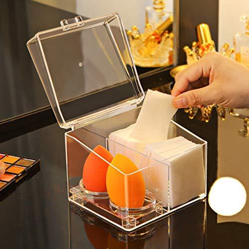 Transparente Kosmetik Aufbewahrungsbox Make-up Werkzeuge Schöne Organizer Box Wattestäbchen Make-up Schwamm Kürbis Puderquaste Regal Aufbewahrungsbox Desktop