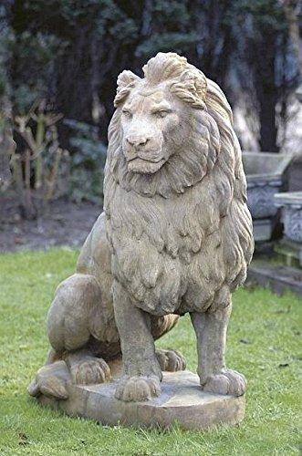 pompidu-living Löwe sitzend, Stone Lion, Gartenfigur, Steinfigur, Steintier Farbe Sandstein